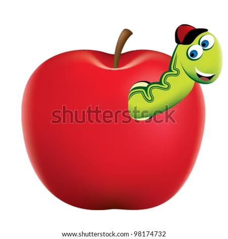 Apple Worm Teacher Cheerful Apple Worm