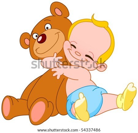 Cheerful baby hugging his teddy bear - stock vector