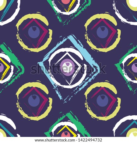 Cheerful boho style geometrical seamless pattern. Trendy multicolored print, retro texture, hipster fashion design. Vector illustration.