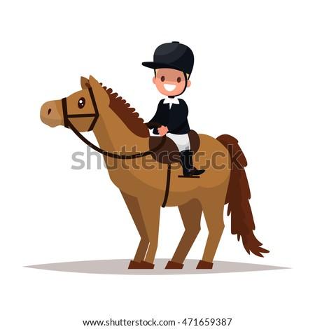 Cheerful boy jockey riding a horse. Vector illustration of a flat design
