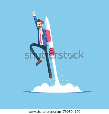Cheerful businessman flying off with jet pack vector flat illustration. Male office worker flying up by rocket and take off the ground. Business concept career boost, start up and growth