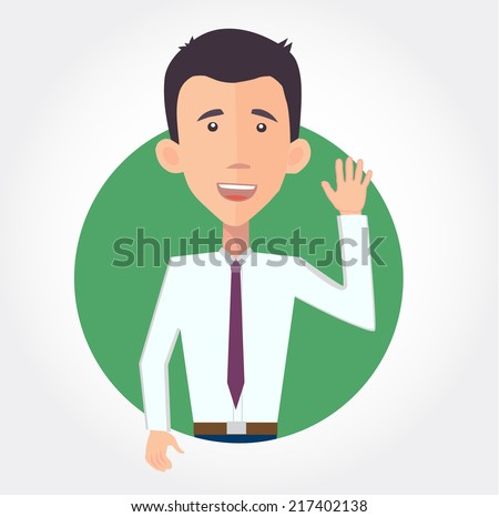 cheerful businessman waving