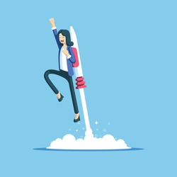 Cheerful businesswoman flying off with jet pack vector flat illustration. Female office worker flying up by rocket and take off the ground. Business concept career boost, start up and growth