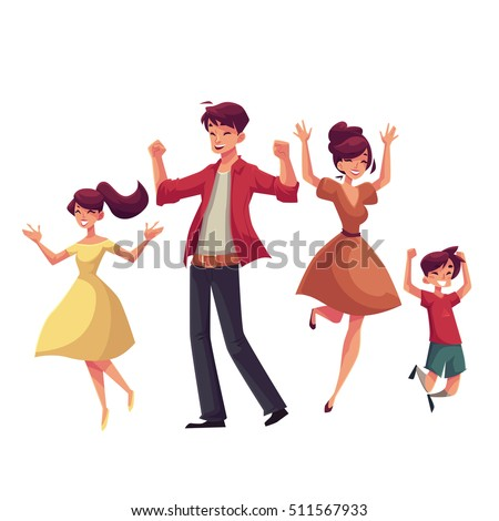 Cheerful cartoon style family jumping from happiness, cartoon vector illustrations isolated on white background. Happy family of father, mother, sister and son jumping in excitement