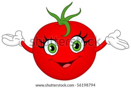Cheerful cartoon tomato raising her hands