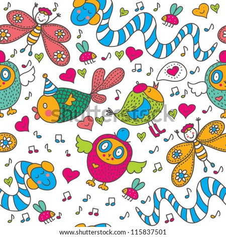 Cheerful children's seamless pattern. Seamless pattern can be used for wallpaper, pattern fills, web page background, postcards.