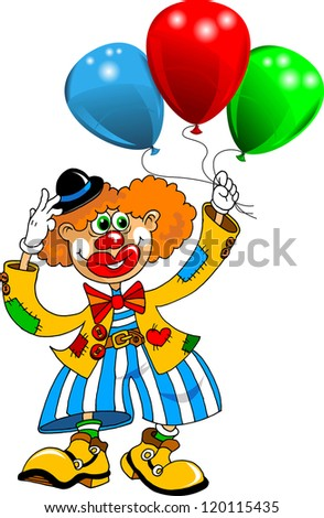 cheerful clown playing with balloons (vector);