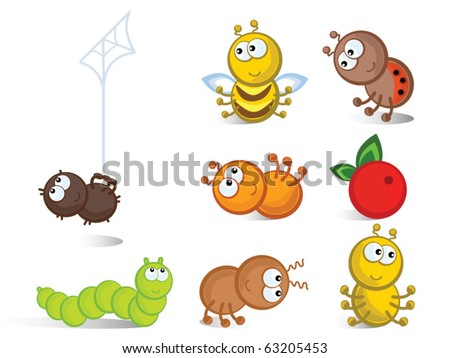 Cheerful comical insects in different poses. Isolated. Icons.