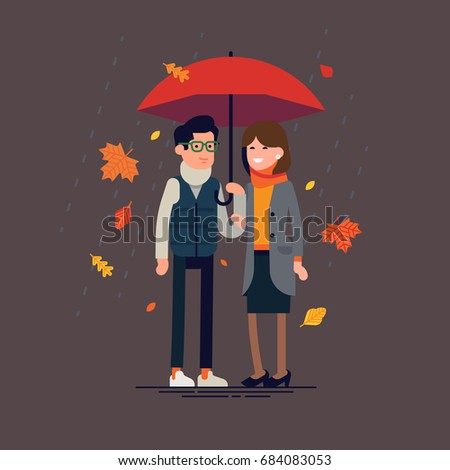 Cheerful couple standing together under umbrella wearing warm clothes. Flat vector character design on man and woman ready for cold rainy season