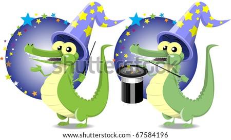 cheerful crocodile holding a magic wand