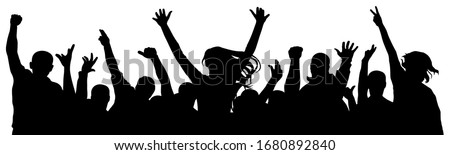 Cheerful crowd of people cheering applause. Party disco concert sport. Fan happy people. Silhouette vector illustration