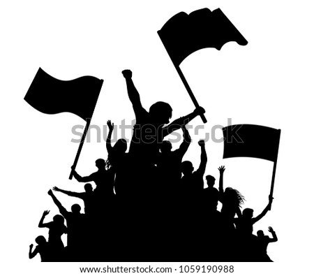 Cheerful crowd people silhouette. Crowd applauding. Fans dance concert, disco. Demonstration, protest. Sports fans with flags