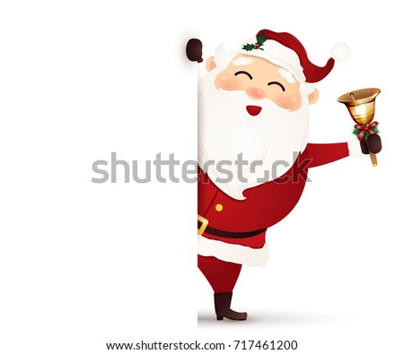 cheerful, cute, smiling Santa Claus with christmas gold jingle bell standing behind a blank signboard, advertisement banner. vector cartoon illustration.