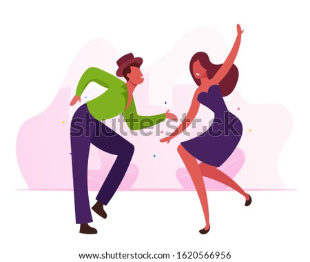 Cheerful Dancers Performing Exciting Brazil Dance during Rio Carnival or Competition. People Dancing Active Hobby and Recreation Spare Time. Latin Samba Class Training. Flat Vector Illustration