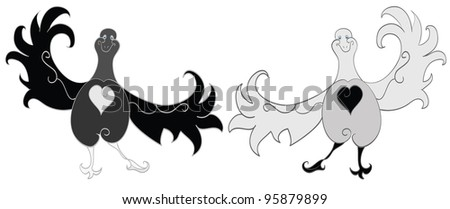 Cheerful dancing birds on a white background. Yin yang.