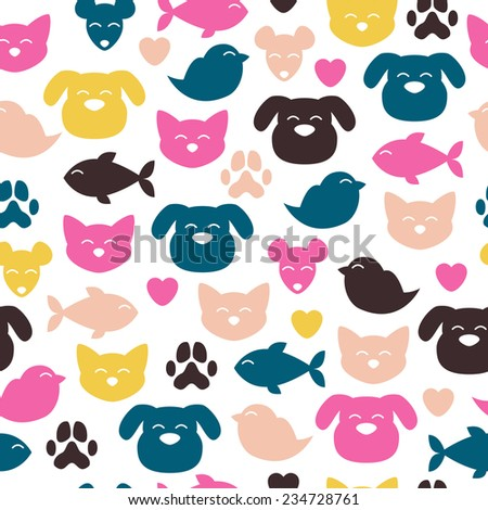 Cheerful domestic animals seamless colorful pattern. Cat, dog, fish, bird and mouse. Pet-shop background.