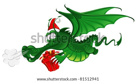 cheerful dragon in santa's hat