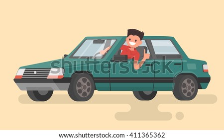 Cheerful driver behind the wheel of a car. Vector illustration