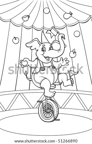 Cheerful elephant shows his tricks at the circus stage.