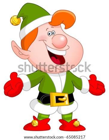Cheerful elf raising his arms
