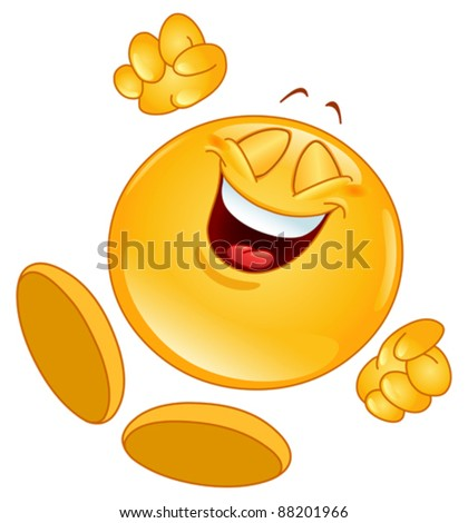 stock vector : Cheerful emoticon jumping in the air