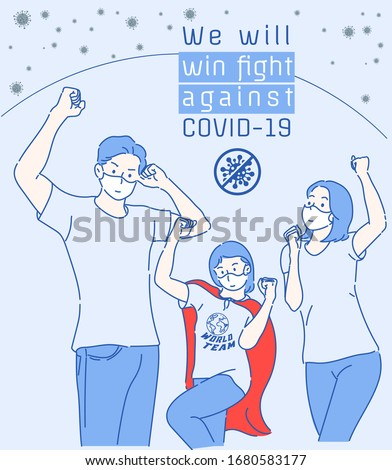 Cheerful family raise your hand confidently whether to join fight against the Virus COVID-19. Hand drawn in thin line style, vector illustrations.