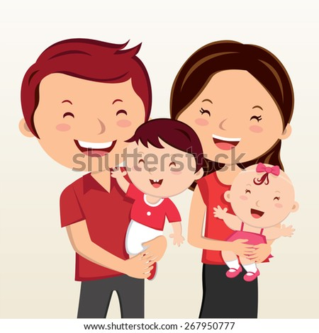 cheerful family smiling happy