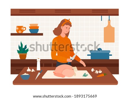 Cheerful female character preparing turkey in the kitchen. Happy woman cooking food with spices and vegetables. Female preparing meal for Thanksgiving Day. Flat cartoon vector illustration Photo stock ©