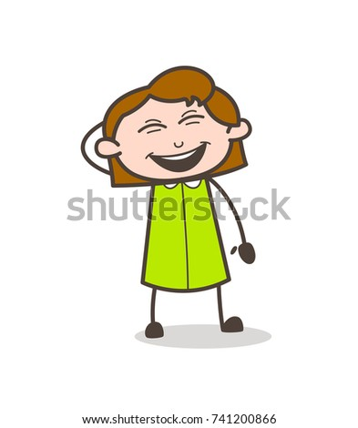 Cheerful Girl Laughing Loudly Vector