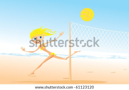 cheerful girl playing volleyball on the beach