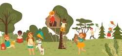 Cheerful group kid character playing together in outdoor park, treehouse children playground flat vector illustration. Girl boy play garden, child funny spend time, walk dog and read book.