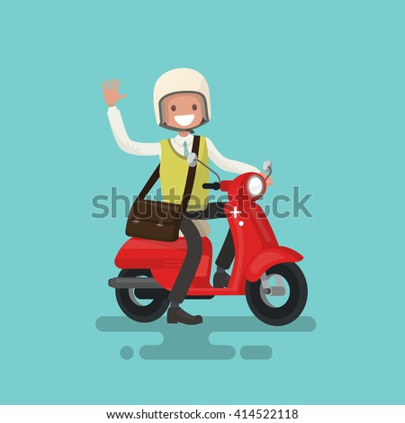 cheerful guy rides a motorbike