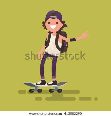 cheerful guy riding a