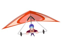Cheerful hang gliding tandem flying in sky. Extreme Outdoors Sport Activity, Sky Diving Sportsman Flying Paraplane Cartoon Flat Vector Illustration