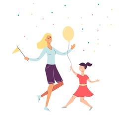 Cheerful happy mother and daughter dancing cartoon characters, flat vector illustration isolated on white background. Family joint celebration and happiness.