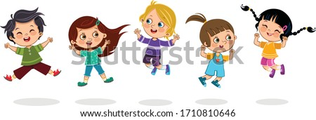 cheerful kids jumping together