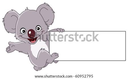 Cheerful koala climbing a sign