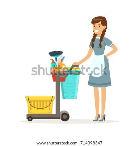 cheerful maid character wearing