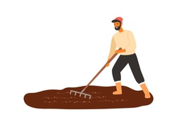 Cheerful male farmer work with field use rake vector flat illustration. Smiling agricultural worker cultivated seedbed from weed isolated on white. Happy rural guy making agriculture seasonal work