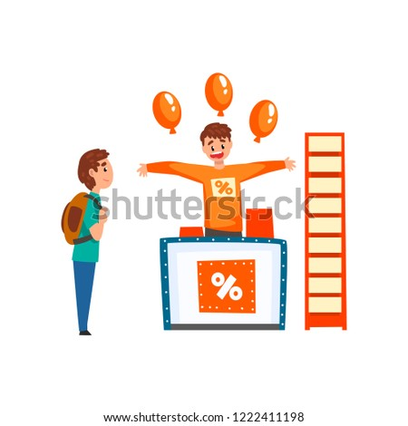 Cheerful male promoter character promoting advertisement on a promo stand with balloons, client visiting a trade fair or exhibition vector Illustration on a white background