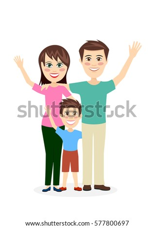 Cheerful married couple with the child a vector illustration flat style.