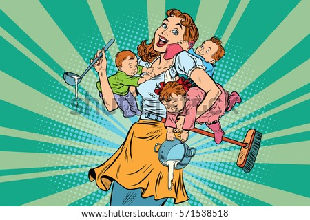 cheerful mother with three