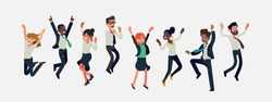 Cheerful multiracial business people celebrating together. Diverse group of happy company team colleagues jumping. Flat vector winning characters collection