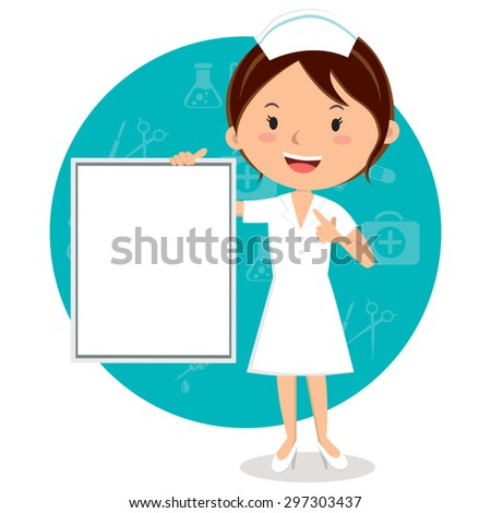 Cheerful nurse with board. Vector illustration of a smiling nurse with medical icons background.