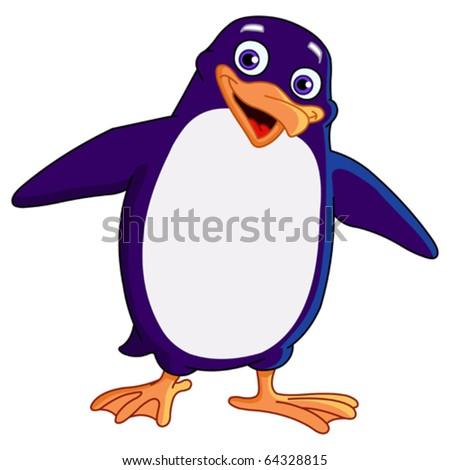 Cheerful penguin - stock vector
