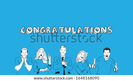 cheerful people applauding, congratulating, and celebrating for success can be used as banner/card/ad/social media marketing simple hand drawn design style minimal vector illustration