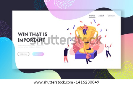 Cheerful People Celebrating Win around Huge Gold Cup with Man Sitting on Top. Joyful Sportsmen Rejoice for Competition Success. Website Landing Page, Web Page. Cartoon Flat Vector Illustration, Banner