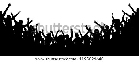 Cheerful people crowd applauding, silhouette vector. Cheers party, applause. Fans dance concert, disco. Audience applause hand up