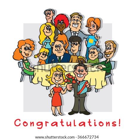 Cheerful people - happy friends, family meeting. Vector image. Illustration of human relations: congratulations.