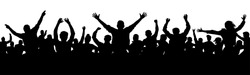 Cheerful people having fun celebrating. Crowd of fun people on party, holiday. Applause people hands up. Silhouette Vector Illustration